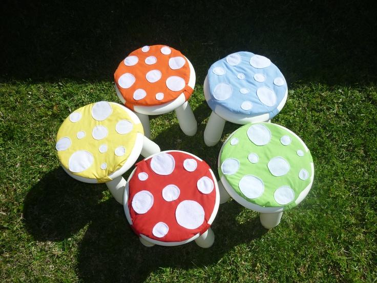Idea for MAMMUT ($8) White Stools:   Rainbow Woodland Nursery Toadstool Stool Pad Chair Covers, via Etsy.