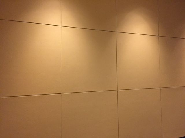PHOTO 6 - This photo was taken at the Crown Towers lobby. It appeared to be vinyl over square blocks. From afar it looks like leather. This was one of the feature walls. Looked crisp and clean with some nice down lights shining over it.
