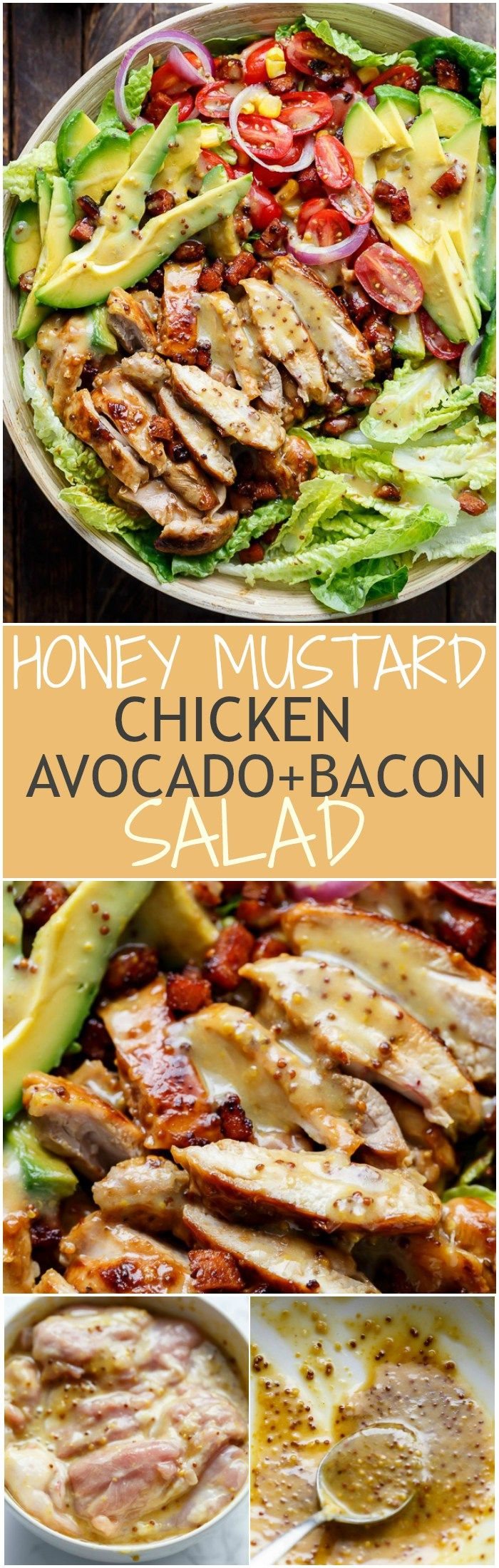 Honey Mustard Chicken, Avocado + Bacon Salad, with a crazy good Honey Mustard dressing withOUT mayonnaise or yogurt! And only 5 ingredients! | http://cafedelites.stfi.re: