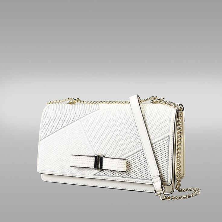 White Colour PU Leather Messenger Handbag