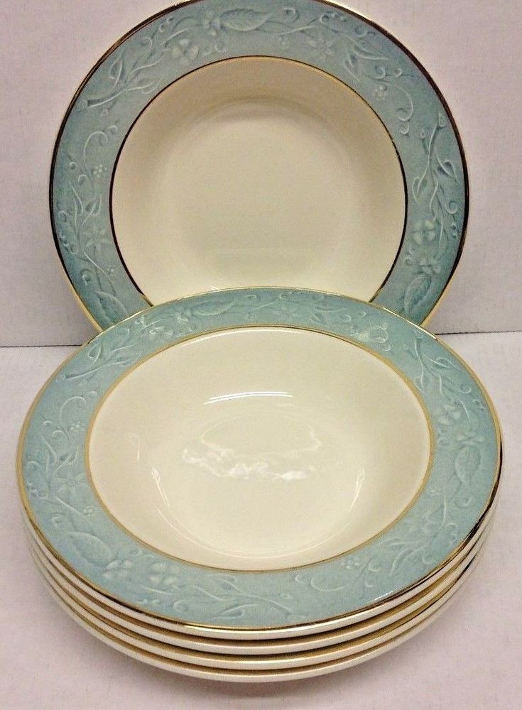 """Taylor Smith Taylor """"Shadows""""  Lot of 5 Cereal Bowls Blue green, gold trim #TST"""