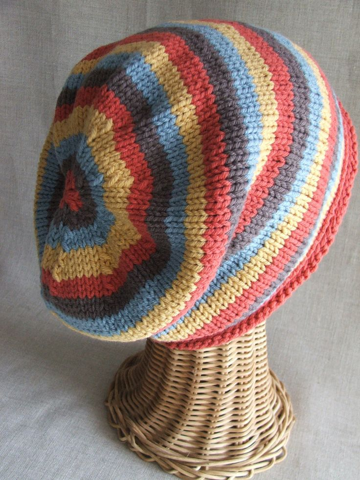 Slouchy Striped knit hat PDF PATTERN. $3.00, via Etsy.