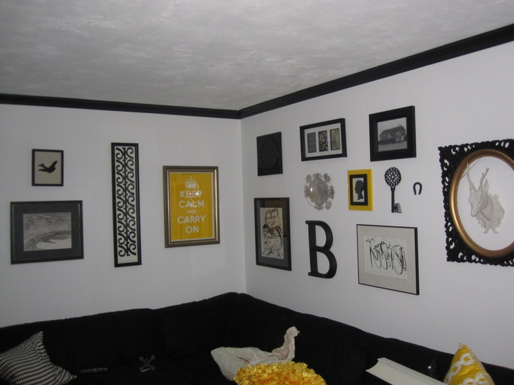 Black white yellow living room home pinterest - Black and yellow living room ...