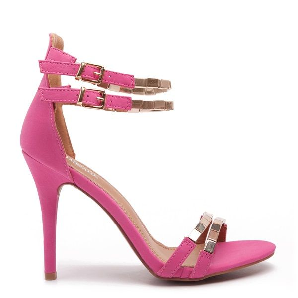 Fuschia high heel sandals with slim double-strap, decorated with gold metallic detail.