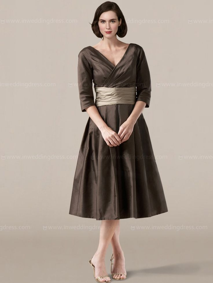 Spring v neck mother of the groom dresses with sleeves for Mother of the bride dresses for fall wedding