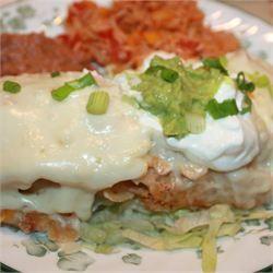 Easy White Chicken Enchiladas - Allrecipes.com | Recipes | Pinterest