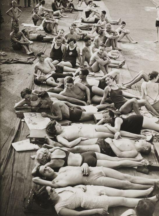 Italy. Sun bathers at the Lido, Venezia, 1934 // Photo by Edward George…