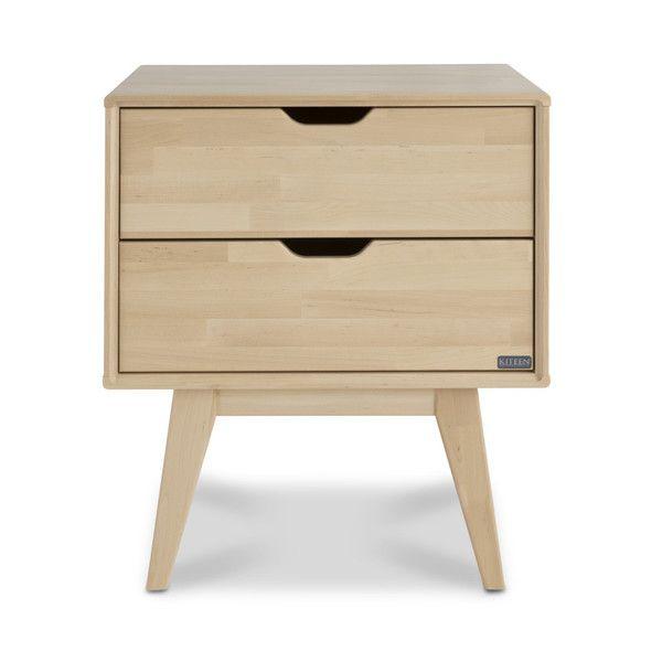 Ručne vyrobený nočný stolík s2zásuvkami zmasívneho brezového dreva KiteenKolo