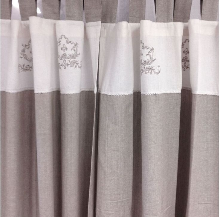 2 White & Linen Embroided Panels Shabby Hamptons Chic Pair Curtain Drapes