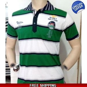 Green & White Stipes Bonet Militare Mens Collar T-Shirt - www.onlinedeals.tk