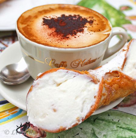 Liv Life: Taormina, Sicily... History and The Etna Pasticceria. Heaven on a plate with cup and saucer!