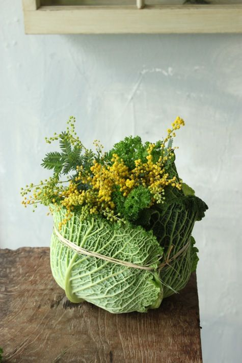 Loving this simple but lovely cabbage arrangement. Simply pick up the ingredients at your market and in your backyard.