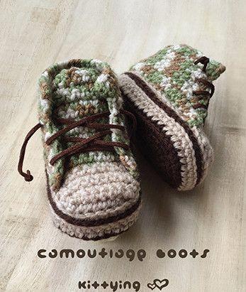 Camuflaje bebé botas crochet patrón Código de Producto: CB04-G-PAT  ¡Los botines hechos a mano son un regalo perfecto para el pequeño precioso!  El PDF incluye: - 8 páginas de instrucciones...