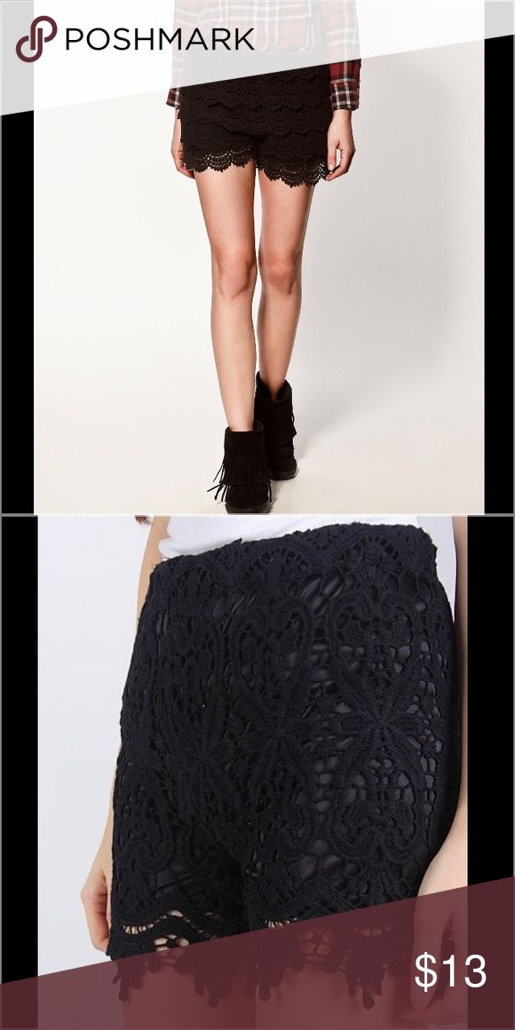 Black Crochet Shorts *WILL POST ACTUAL PICS LATER*      Black crochet shorts from Cotton On. Hidden zipper in back. No pockets. Approx. mid thigh length. Super cute and can paired with essentially anything from a preppy look to an edgy one. Size 6. Cotton On Shorts