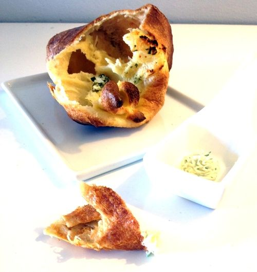 Goat Cheese Popovers with Garlic Herb Butter