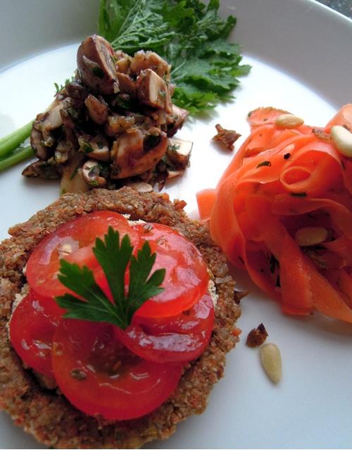 Tomato tart, carrot pasta and mushroom pate
