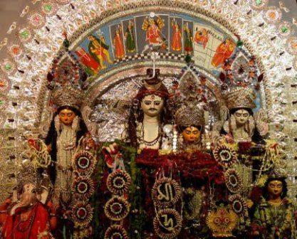 Durga Puja includes the worship of Goddess Durga ,Lord Shiva, her four children (Kartik, Ganesh, Saraswati and Lakshmi) and even of Mahishasura.
