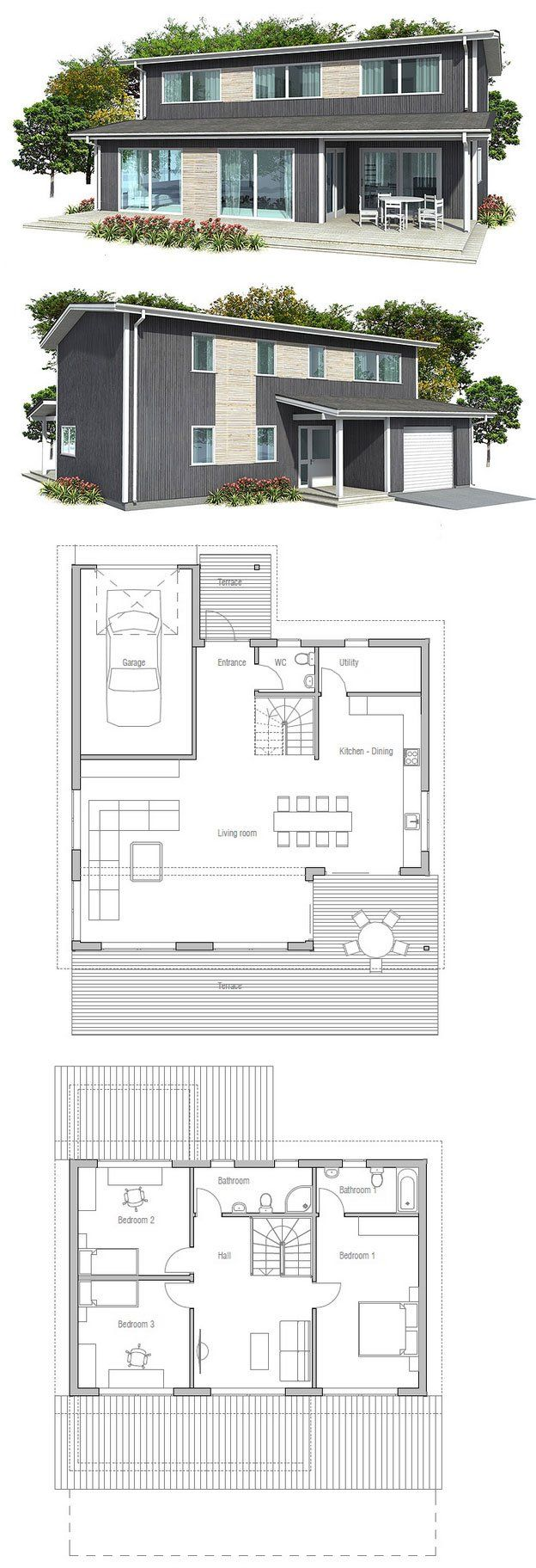 Small house plan, three bedrooms, two living areas, garage, spacious interior, small home design in modern architecture. Floor Plans from ConceptHome.com