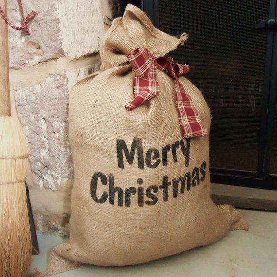 Christmas Burlap Gift Bag Country Christmas by RaggedyRee on Etsy, $10.00