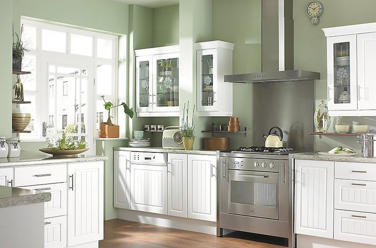 Easier ikea alternative b q it white country style - Country style kitchen cabinets ...