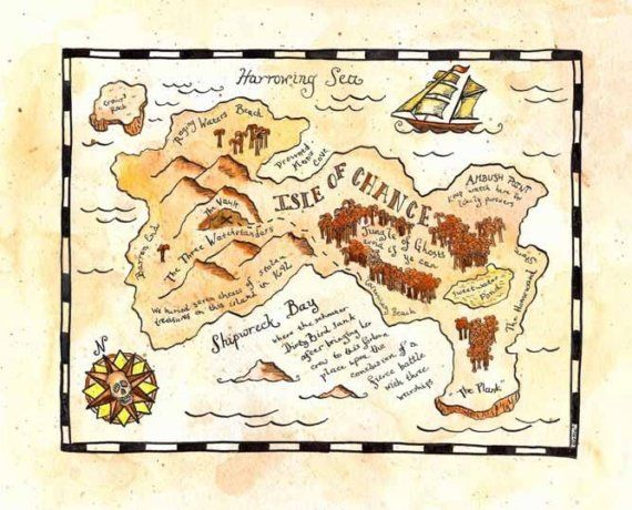 Isle of Chance Treasure Map / 8 x 10 Print / Pirate by paintandink