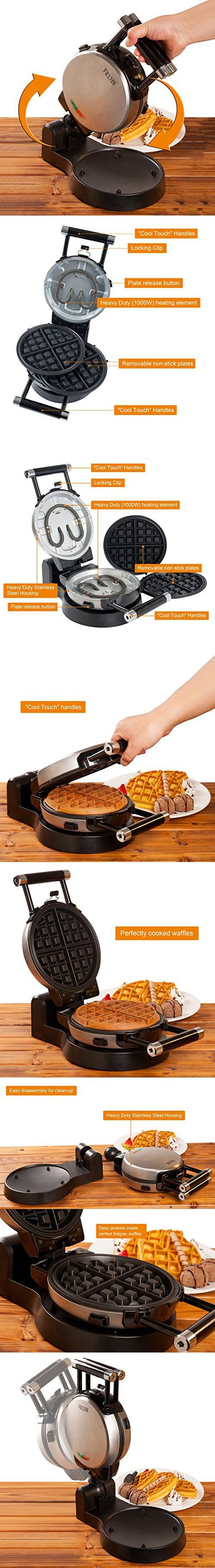 Secura 360 Rotating Belgian Waffle Maker w/ Removable Non-Stick Plates and Recipes