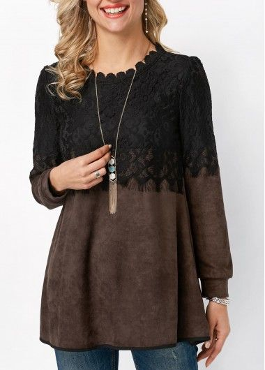 Long Sleeve Lace Panel Scalloped Neckline Blouse on sale only US$31.58 now, buy cheap Long Sleeve Lace Panel Scalloped Neckline Blouse at liligal.com