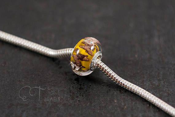 Yellow glass charm bead  european charm Murano glass bead