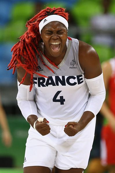 Isabelle Yacoubou of France reacts to scoring against Belarus during a Women's Basketball Preliminary Round game on August 7 2016 in…