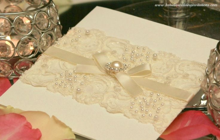 LOVE this idea of lace on the invites! Ivory Glamour Collection - Handmade Wedding Invitations and Matching Stationery ©