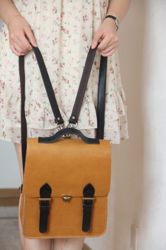Handmade Vintage Noble Genuine Leather Women's Backpack Satchel Briefcase - Brown with Black