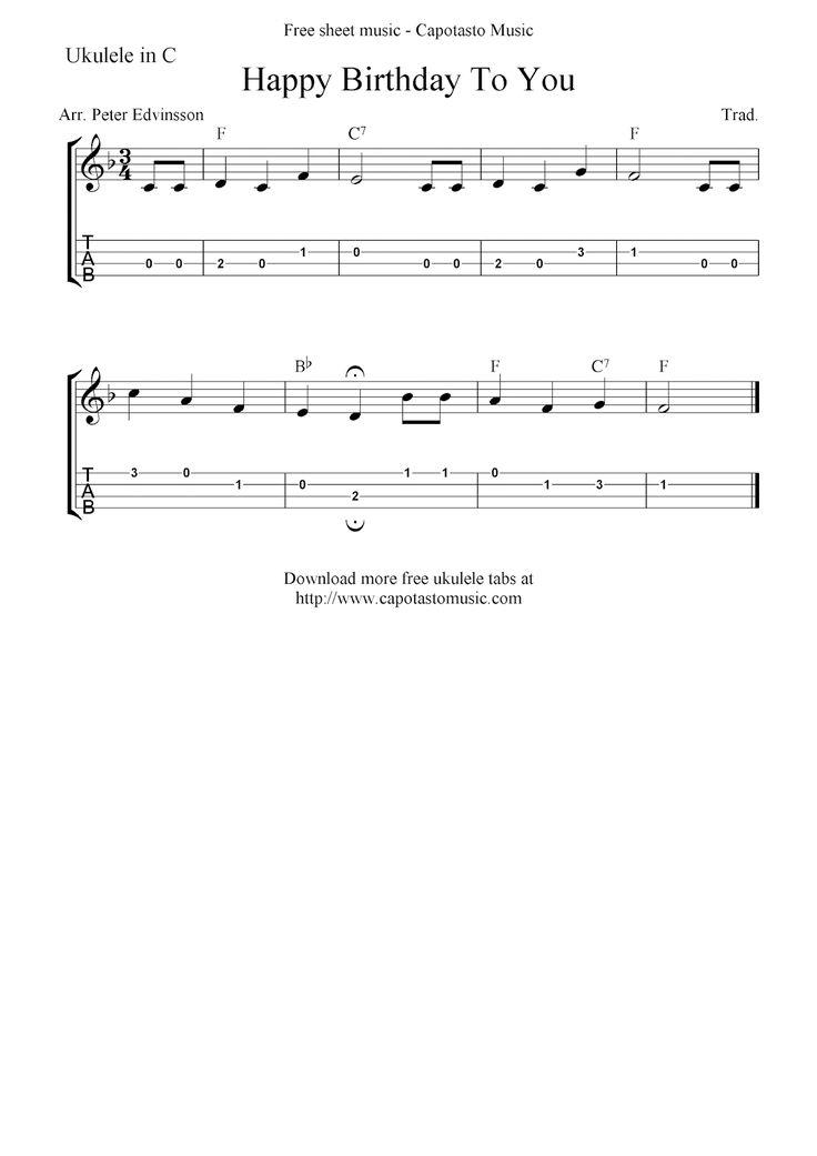 Happy Birthday To You, free ukulele tab sheet music