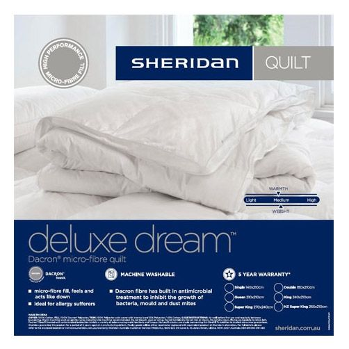 The Deluxe Dream® quilt is designed for those who want the look and feel of feather and down, but for allergy reasons are unable to enjoy natural fibre-filled products.