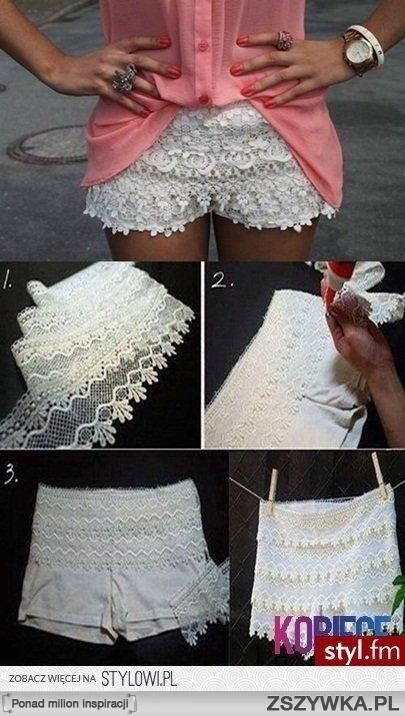 How to make lace shorts for cheap! Buy a white pair of biker shorts and lace trim then follow the steps shown in the picture!