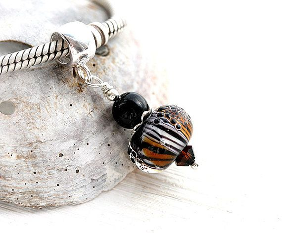 Tiger stripe Jewelry Dangle charm bead by MayaHoneyJewelry on Etsy