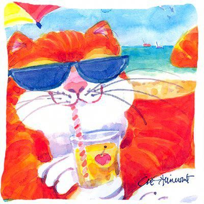 Caroline's Treasures Cool Cat with Sunglasses at The Beach Indoor/Outdoor Throw Pillow