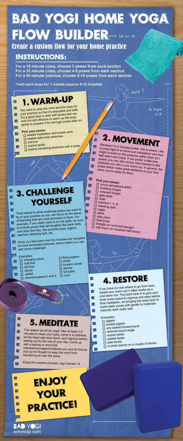 Yoga Flow Builder for your home practice! Created by the original Bad Yogi, Erin Motz.
