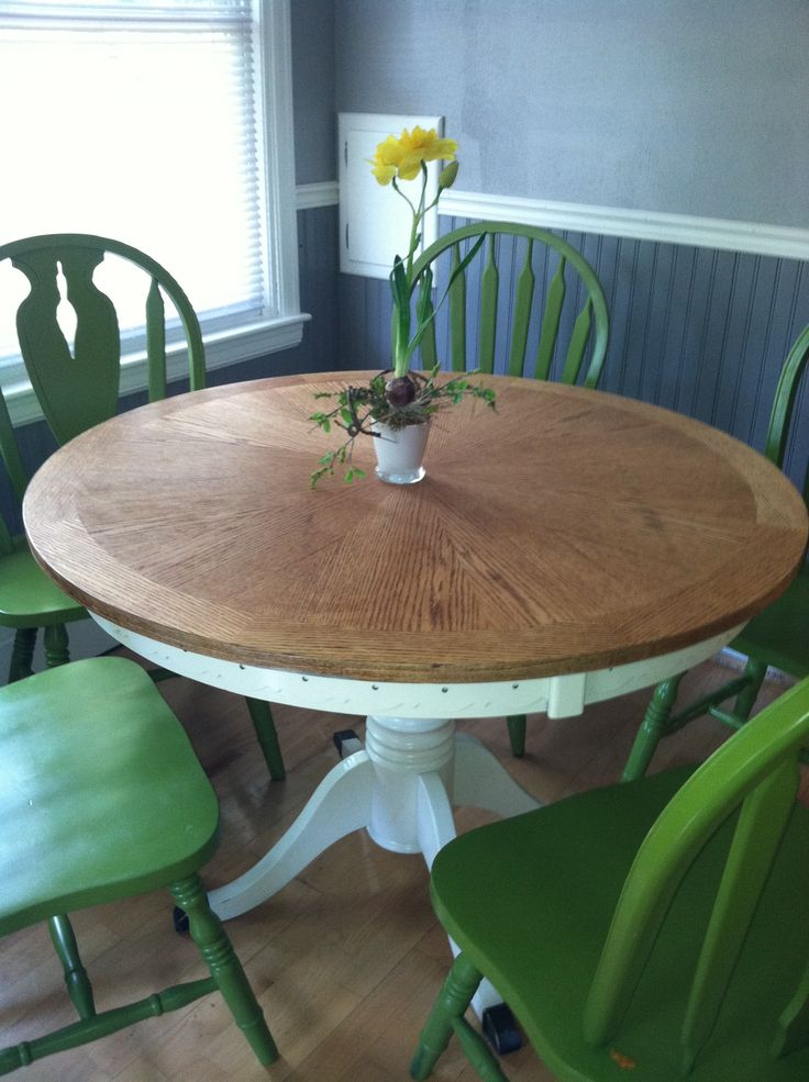 Repainted kitchen table and chairs.