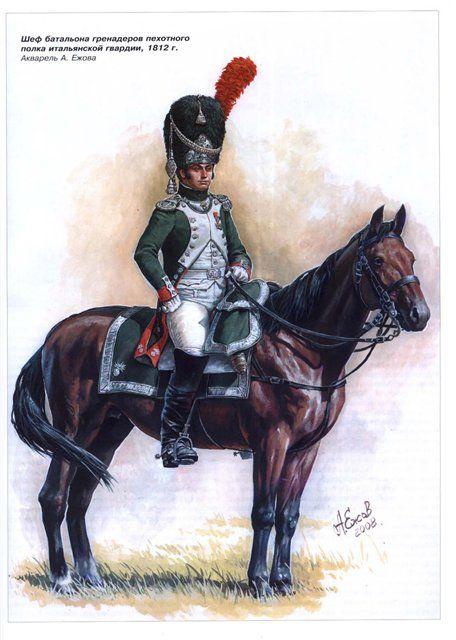 Officer of foot grenadier Italian royal guard