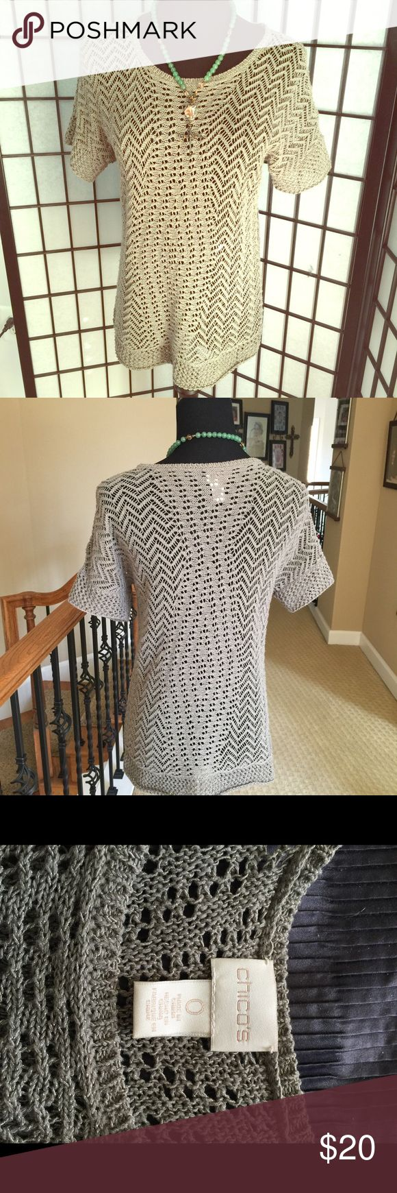 🇺🇸olive open weave short sleeve sweater Chico's size 0 fits a 6/8 Chico's Sweaters Crew & Scoop Necks