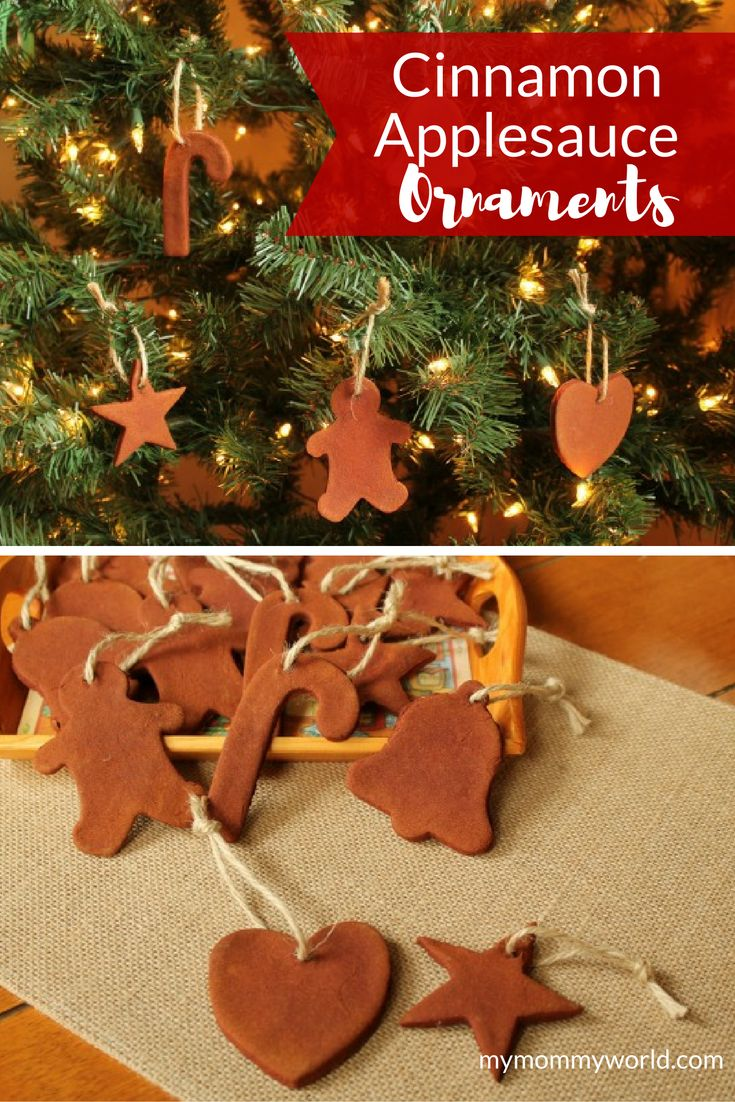 Looking for easy Christmas ornaments for kids to make? These Cinnamon Applesauce Ornaments are just the thing! Not only do these handmade ornaments look pretty on a Christmas tree, but they make great gifts for your kids to give to teachers or grandparent