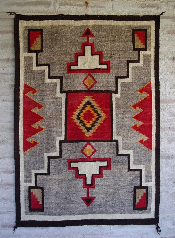 GHT 2042 : Antique Red Mesa Storm Pattern Navajo Rug