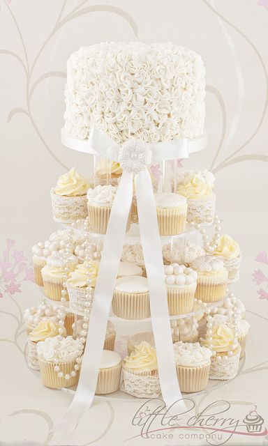 Ruffles, Lace, Ivory, and Pearls Wedding Cake by Little Cherry Cake Company, via Flickr