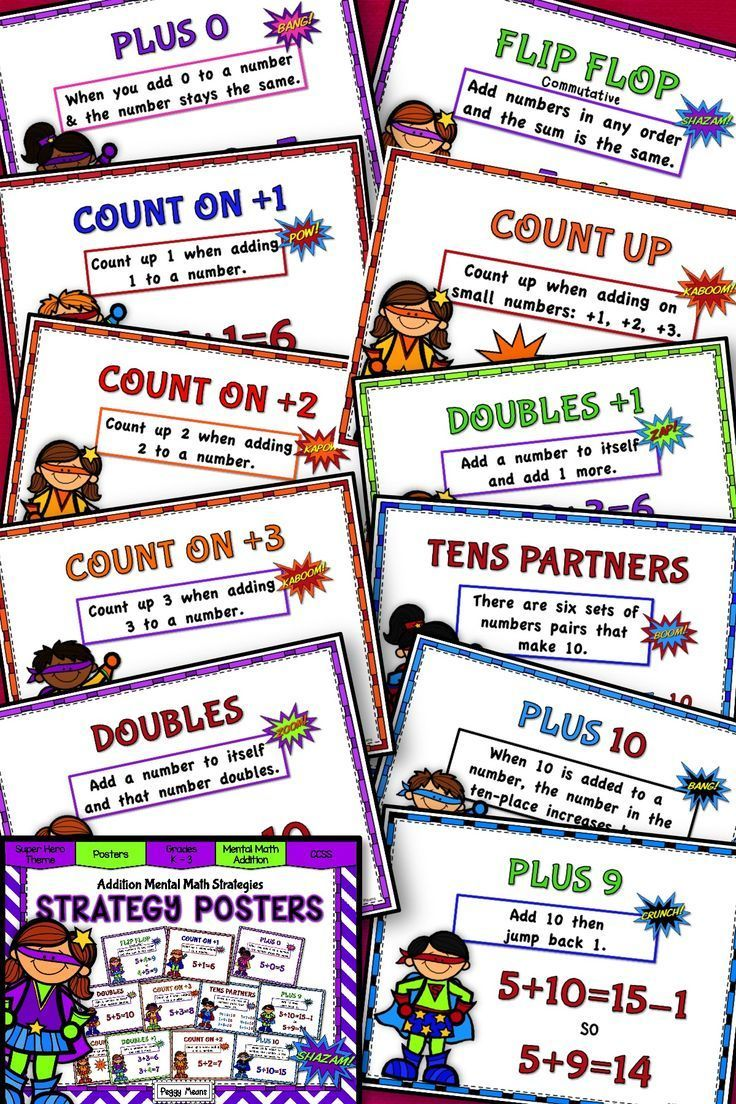 These Addition Mental Math Strategy Posters have a fun and motivating Super Hero theme. Each of the 11 posters defines and gives an example of the strategy. They are great on your math wall or bulletin board so your 1st, 2nd, 3rd grade, and home school students can have a reference when needed. There's also a smaller version to use in centers or stations, small groups or individual practice. {first, second, third graders}