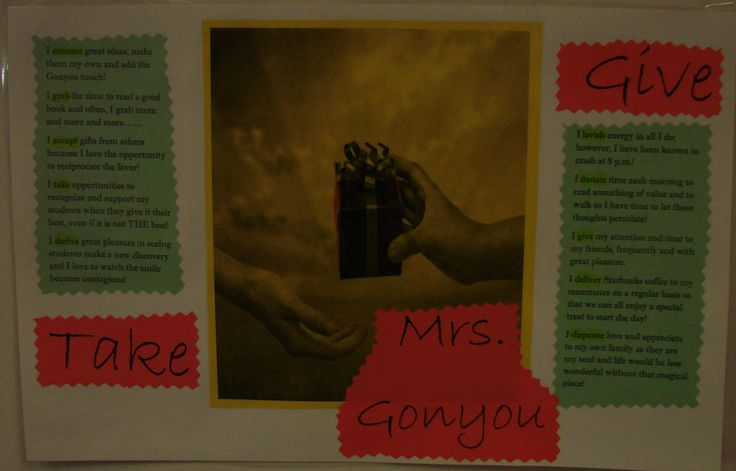 I work on an amazing team. We asked the kids to create a metaphor with writing about their hands for hanging in our hallways, and we made sure we each had one too. Here are Mrs. Gonyou's hands of kindness! Visit this lesson online:  http://corbettharrison.com/free_lessons/Presenting-Me-Limited-Version.htm