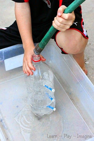 How to make a water fountain to learn about water power - hands on water science for kids