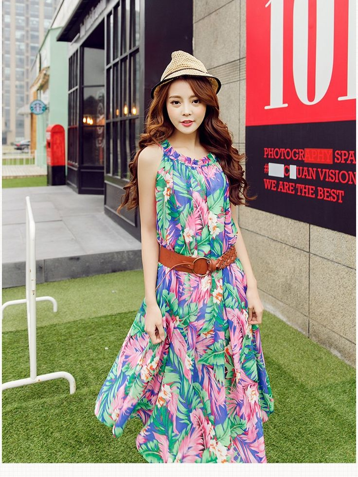 2015 New Summer Runway Fashion Designer Dress Women's O Neck chiffon Party Dresses Vintage Printed Maxi Bohemian Dress 5004