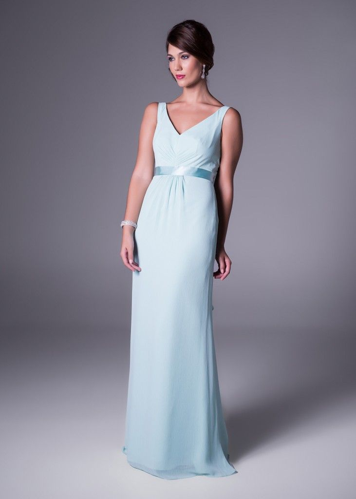 Ultra elegant! Available in six trending colours, this chic V-neckline  bridesmaid's dress features a satin waistline detail. Click to View Colours or the Price (style F15530).