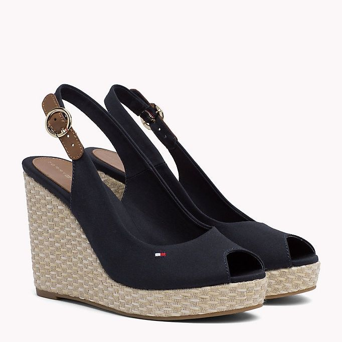 8e24e8d5a6c TOMMY HILFIGER Iconic Slingback Espadrille Wedge Sandals - BLACK ...