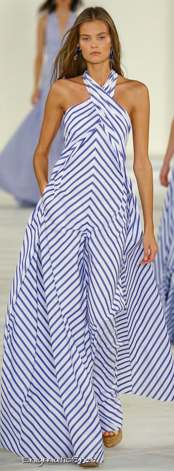 Ralph Lauren 2017- We expect to see this print all summer! blue and white stripe maxi